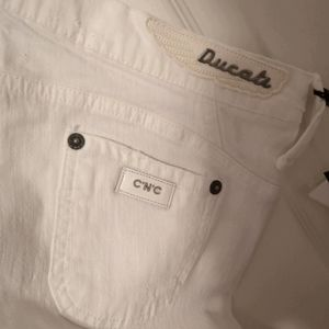 Ducati Costume National White Bootcut Flare Jeans